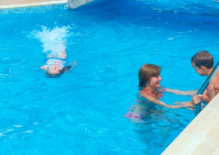 Mother train children to swim in the pool. photo