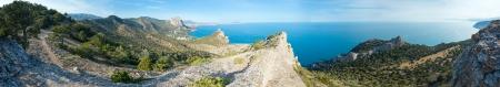 rocky mountain juniper: Coastline of  Novyj Svit  reserve summer panorama (Crimea, Ukraine)