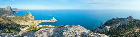 rocky mountain juniper: Coastline of  Novyj Svit  reserve summer panorama (Capchik Cape, Crimea, Ukraine)