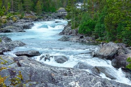 Summer mountain river waterfalls view (Ottafossen, Norge ) Stock Photo - 24985009