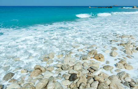 limpid: Beautiful summer Lefkada coast stony beach (Greece, Ionian Sea, )