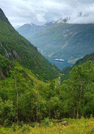 norge: Geiranger Fjord (Norge)  view from above Stock Photo