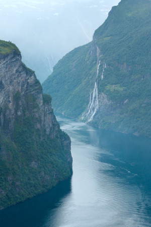 seven sisters: Geiranger Fjord (Norge) and waterfall Seven sisters view from above