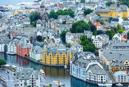 alesund: Alesund town (Norway) summer view from above Stock Photo
