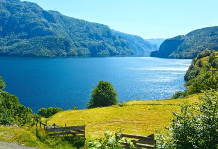 Summer mountain lake Suldalsvatn (or Suldalsvatnet) landscape (Suldal, Norway)