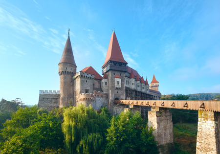 Corvin Castle summer morning view (Hunedoara, Transylvania, Romania).  Was laid out in 1446