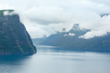 Geiranger Fjord (Norge) evening cloudy summer view