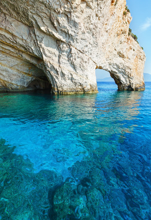 rock bottom: View of Blue Caves from boat (Zakynthos, Greece, Cape Skinari ) Stock Photo