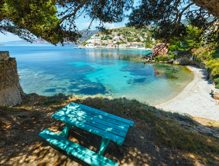ionian: Summer sea view of Assos village (Greece,  Kefalonia, Ionian Sea).
