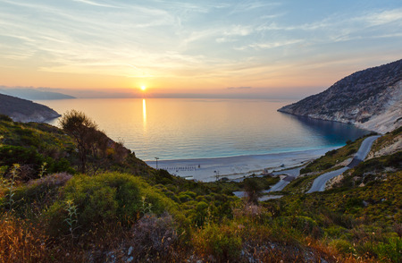 Sea sunset view of Myrtos Beach (Greece,  Kefalonia, Ionian Sea). Stok Fotoğraf