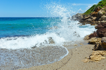 ionian: Sea summer view from beach (Greece, Lefkada, Ionian Sea). Stock Photo
