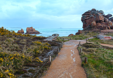 cote de granit rose: Ploumanach coast spring view  (Perros-Guirec, Brittany, France). The Pink Granite Coast.