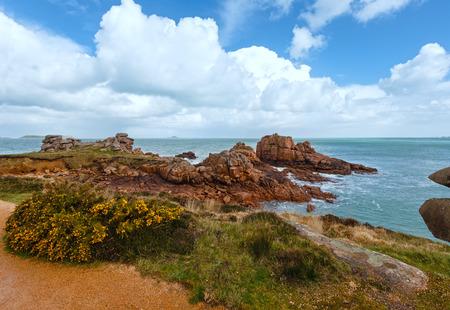 cote de granit rose: Ploumanach coast spring view   (Perros-Guirec, Brittany, France). The Pink Granite Coast. Stock Photo