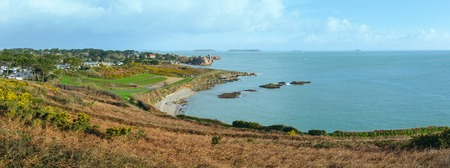cote de granit rose: Atlantic coast spring panorama (Brittany, France). Spring view.