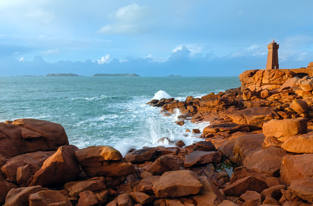 cote de granit rose: Ploumanach lighthouse (Perros-Guirec, Brittany, France). The Pink Granite Coast.