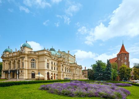 build in: Juliusz Slowacki Theater in Krakow, Poland. Summer view. Build  in 1893.  Designed by Jan Zawiejski.