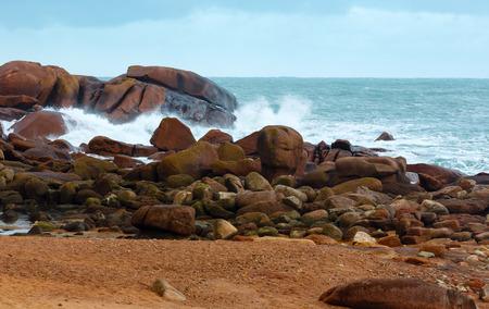 cote de granit rose: Ocean coast spring view  (between Perros-Guirec and Pleumeur-Bodou, Brittany, France). The Pink Granite Coast.