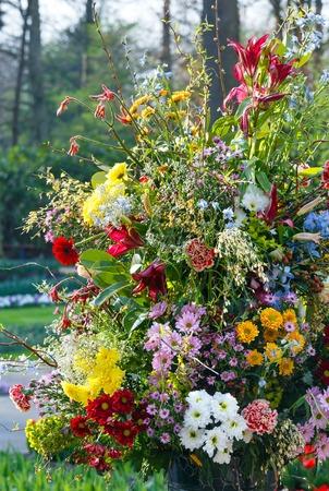 Big Multicolor Wonderful Flowers Bouquet On Spring Park Photo