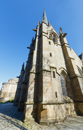 reconstructed: Saint-Leonard church, Fougeres, France. Established in 12th century, reconstructed in 15th and 16th.