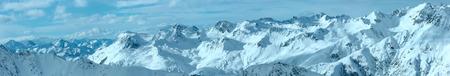 tirol: Morning winter Silvretta Alps landscape. Ski resort Silvrettaseilbahn AG Ischgl, Tirol, Austria. Panorama. Stock Photo
