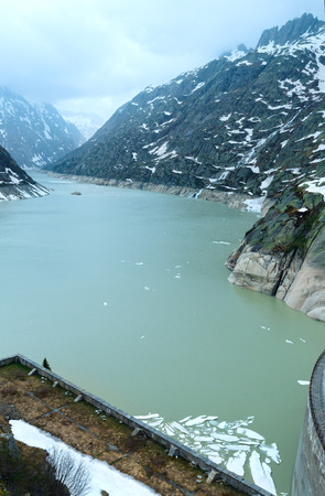 ice dam: View from the summit of the pass looking north over the Grimselsee (Switzerland, Bernese Alps).