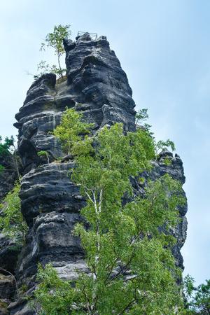 ceske: The Huge rock towers in Narodni park Ceske Svycarsko (Czech Republic). Stock Photo