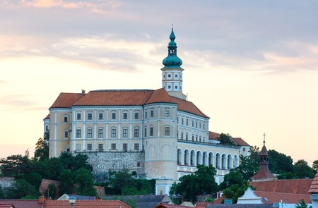 town centre: The Old town centre and Mikulov castle (reconstruction in 1719-1730). Sunset top view (Moravian Region, Czech Republic).