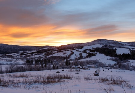 carpathian: Sunrise Carpathian mountain winter landscape (Ukraine)