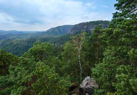 ceske: Narodni park Ceske Svycarsko summer top view (Czech Republic). Stock Photo