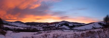 winter sunrise: Sunrise Carpathian mountain winter landscape (Ukraine)