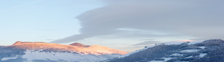 carpathian: Sunrise Carpathian mountain winter panorama (Ukraine) Stock Photo