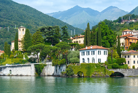 on lake: Lake Como (Italy) shore summer  view from ship board