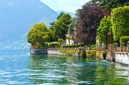 country house: Lake Como (Italy) shore summer  view from ship board