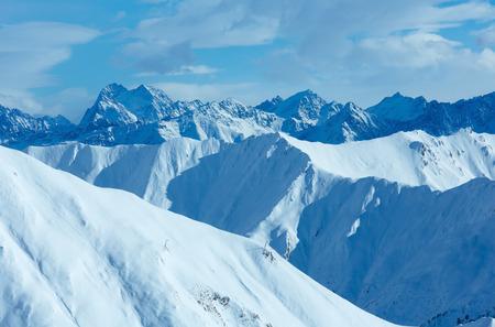 ag: Morning winter Silvretta Alps landscape. Ski resort Silvrettaseilbahn AG Ischgl, Tyrol, Austria.