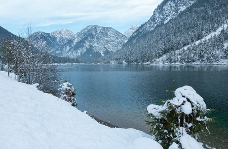 tirol: Mountain Plansee lake winter view, Tirol, Austria. Stock Photo