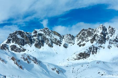 ag: Winter Silvretta Alps landscape. Ski resort Silvrettaseilbahn AG Ischgl, Tyrol, Austria.