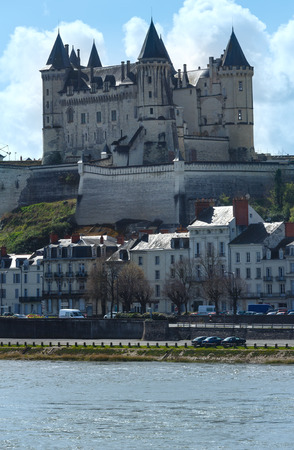 other side of: View of the Saumur castle from the other side of the river Loire, France. Constructed in the 10th century, was rebuilt in the later 12th century.