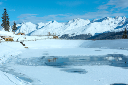 tyrolean: Winter mountain landscape with lake. Kappl ski region in the Tyrolean mountains, Austria. Stock Photo