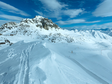 station ski: The top station and ski slopes. Morning winter mountain landscape, Austria. All people are unrecognizable Stock Photo