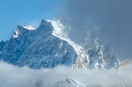 zugspitze mountain: Winter Zugspitze mount (mountain top is close) view from Fern Pass, Austria. Stock Photo