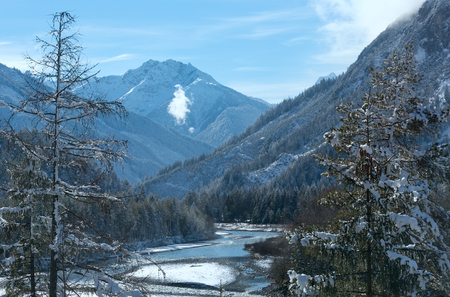 tirol: Winter landscape with mountain and river (Austria, Tirol)