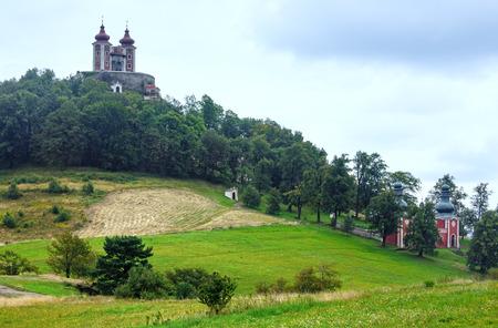 build in: Reaped strip of field under the Church in Banska Stiavnica (Slovakia) - Banskostiavnicka kalvaria (build in 1744-1751)