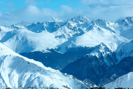 Winter Silvretta Alps snowy landscape, Tyrol, Austria. Stock Photo