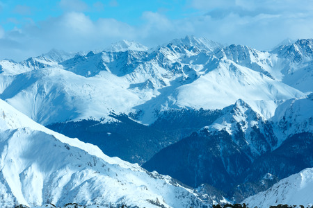 mountain top: Winter Silvretta Alps snowy landscape, Tyrol, Austria. Stock Photo
