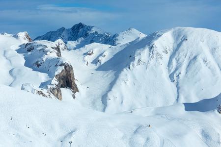 freaked: Hillside freaked ski tracks. Winter Silvretta Alps, Austria.