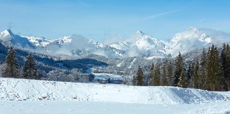 winter tree: Winter mountain country landscape with fir trees (Heiterwang outskirts, Austria, Tirol) Stock Photo