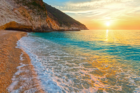 Sea sunset Myrtos Beach view (Greece,  Kefalonia, Ionian Sea). Stock Photo