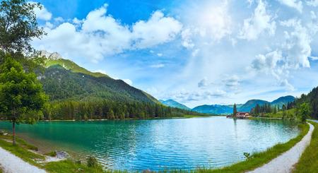 Beautiful summer Alpine lake Pillersee sunshine panorama (Austria). Two shots composite picture. Stock Photo