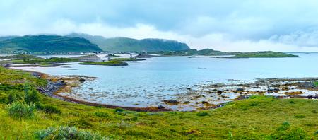 lofoten: Summer cloudy sea Lofoten panorama (Norway). Stock Photo