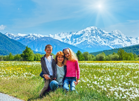 dandelion snow: Summer blossoming dandelion Alpine meadow family and sunshine in blue sky
